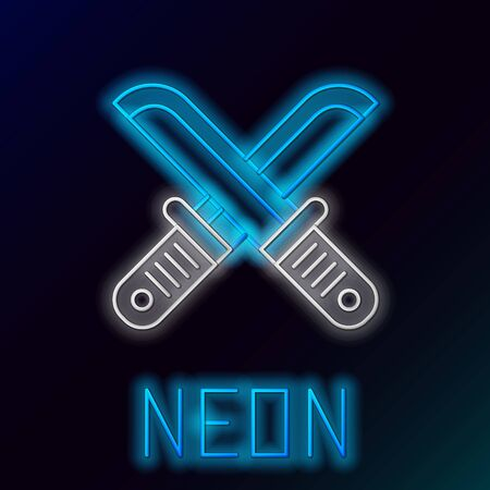 Blue glowing neon line Crossed hunter knife icon isolated on black background. Army knife. Colorful outline concept. Vector Illustration