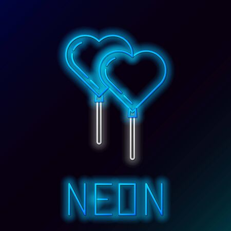 Blue glowing neon line Balloons in form of heart with ribbon icon isolated on black background. Colorful outline concept. Vector Illustration