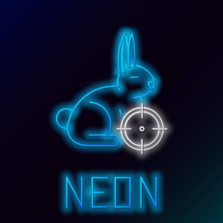 Blue glowing neon line Hunt on rabbit with cross hairs icon on black background. Hunting club icon with rabbit and target. Rifle lens aiming a hare. Colorful outline concept. Vector Illustration Çizim