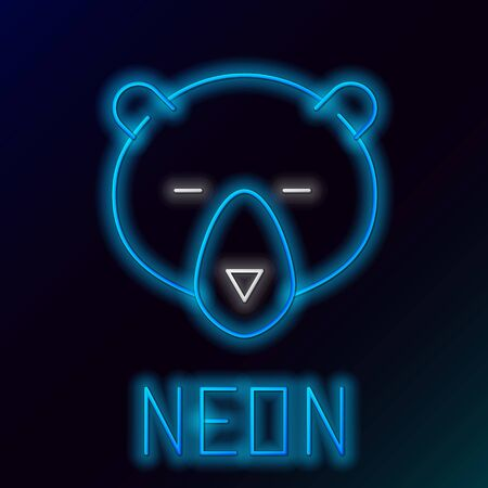 Blue glowing neon line Bear head icon isolated on black background. Colorful outline concept. Vector Illustration 스톡 콘텐츠 - 133453570