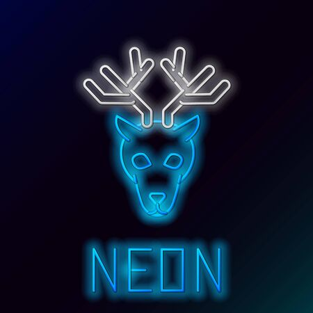 Blue glowing neon line Deer head with antlers icon isolated on black background. Colorful outline concept. Vector Illustration