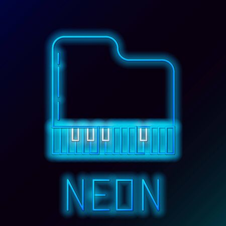 Blue glowing neon line Grand piano icon isolated on black background. Musical instrument. Colorful outline concept. Vector Illustration