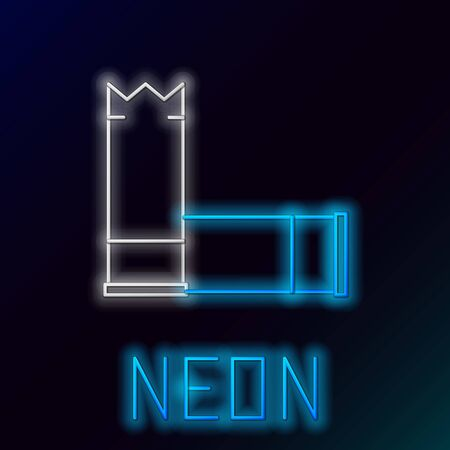 Blue glowing neon line Cartridges icon isolated on black background. Shotgun hunting firearms cartridge. Hunt rifle bullet icon. Colorful outline concept. Vector Illustration