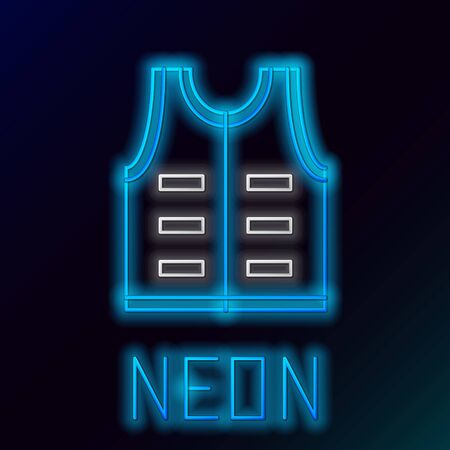 Blue glowing neon line Hunting jacket icon isolated on black background. Hunting vest. Colorful outline concept. Vector Illustration