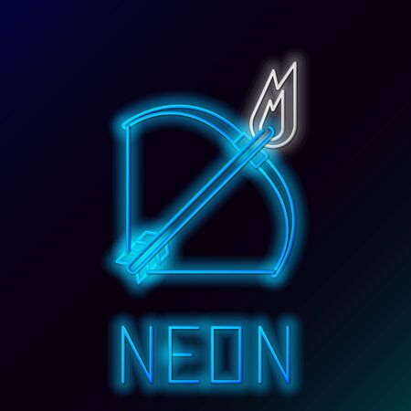 Blue glowing neon line Bow and fire arrow icon isolated on black background. Colorful outline concept. Vector Illustration