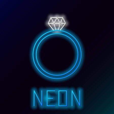 Blue glowing neon line Diamond engagement ring icon isolated on black background. Colorful outline concept. Vector Illustration Çizim