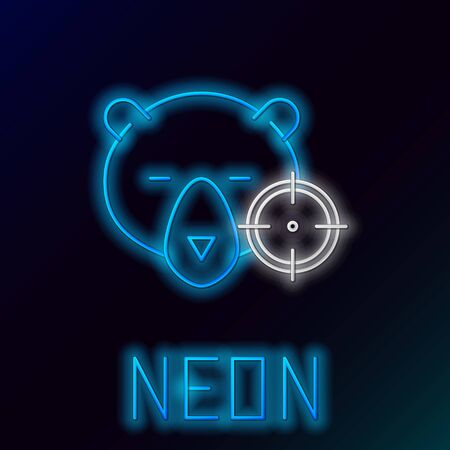 Blue glowing neon line Hunt on bear with cross hairs icon isolated on black background. Hunting club icon with bear and target. Rifle lens aiming a bear. Colorful outline concept. Vector Illustration Çizim