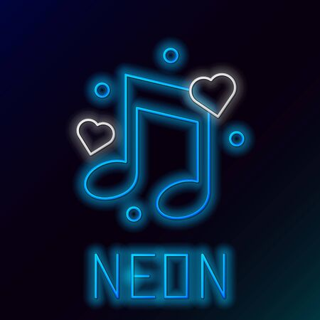 Blue glowing neon line Music note, tone with hearts icon isolated on black background. Colorful outline concept. Vector Illustration Çizim