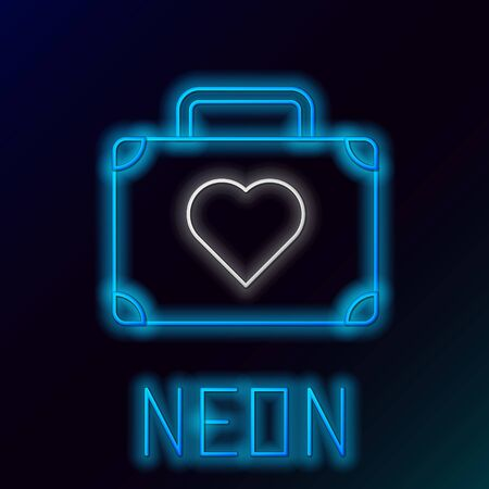 Blue glowing neon line Suitcase for travel with heart icon isolated on black background. Honeymoon symbol. Traveling baggage sign. Travel luggage icon. Colorful outline concept. Vector Illustration