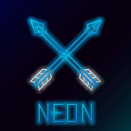 Blue glowing neon line Crossed arrows icon isolated on black background. Colorful outline concept. Vector Illustration