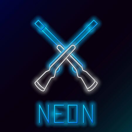 Blue glowing neon line Two crossed shotguns icon isolated on black background. Hunting gun. Colorful outline concept. Vector Illustration