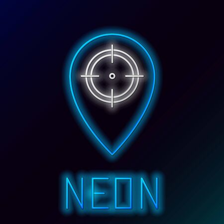 Blue glowing neon line Hunt place icon isolated on black background. Navigation, pointer, location, map, gps, direction, place, compass, contact, search. Colorful outline concept. Vector Illustration