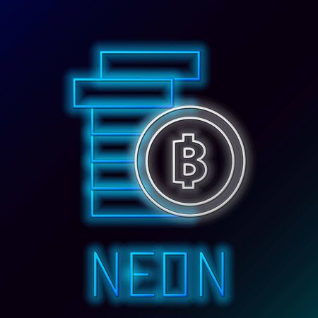 Blue glowing neon line Cryptocurrency coin Bitcoin icon on black background. Physical bit coin. Blockchain based secure crypto currency. Colorful outline concept. Vector Illustration Иллюстрация