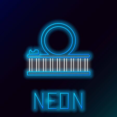 Blue glowing neon line Roller coaster icon isolated on black background. Amusement park. Childrens entertainment playground, recreation park. Colorful outline concept. Vector Illustration Illustration