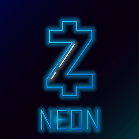 Blue glowing neon line Cryptocurrency coin Zcash ZEC icon on black background. Altcoin symbol. Blockchain based secure crypto currency. Colorful outline concept. Vector Illustration
