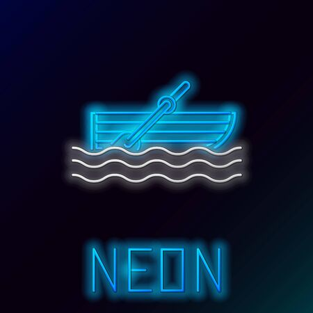Blue glowing neon line Fishing boat with oars on water icon isolated on black background. Colorful outline concept. Vector Illustration