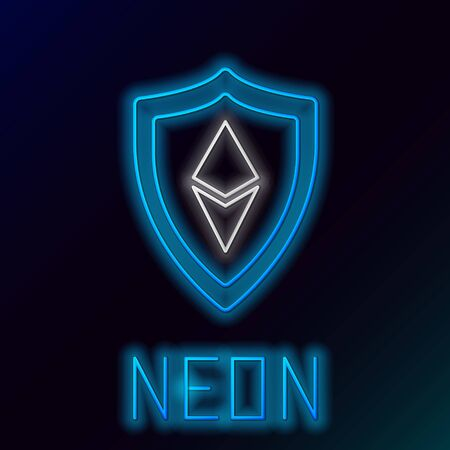 Blue glowing neon line Shield Ethereum ETH icon on black background. Cryptocurrency mining, blockchain technology, security, protect, digital money. Colorful outline concept. Vector Illustration