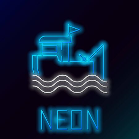 Blue glowing neon line Fishing boat with fishing rod on water icon isolated on black background. Colorful outline concept. Vector Illustration