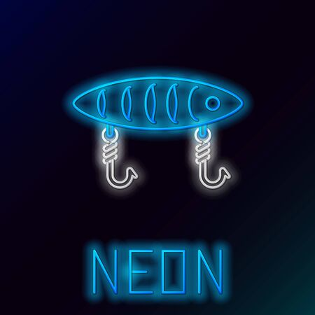 Blue glowing neon line Fishing lure icon isolated on black background. Fishing tackle. Colorful outline concept. Vector Illustration