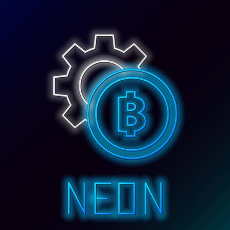 Blue glowing neon line Cryptocurrency coin Bitcoin icon on black background. Gear and Bitcoin setting. Blockchain based secure crypto currency. Colorful outline concept. Vector Illustration Иллюстрация