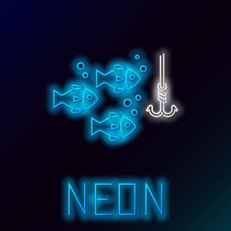 Blue glowing neon line Fishing hook under water with fish icon isolated on black background. Fishing tackle. Colorful outline concept. Vector Illustration Иллюстрация