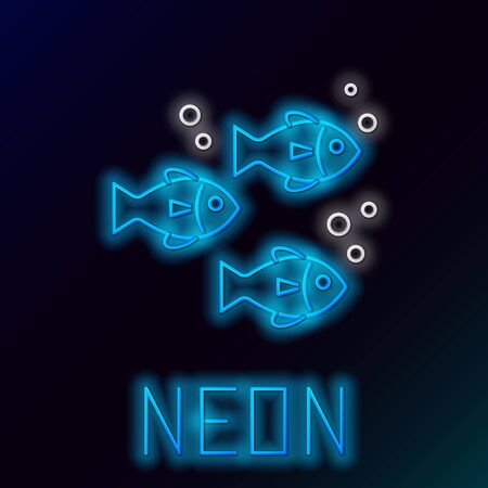Blue glowing neon line Fish icon isolated on black background. Colorful outline concept. Vector Illustration