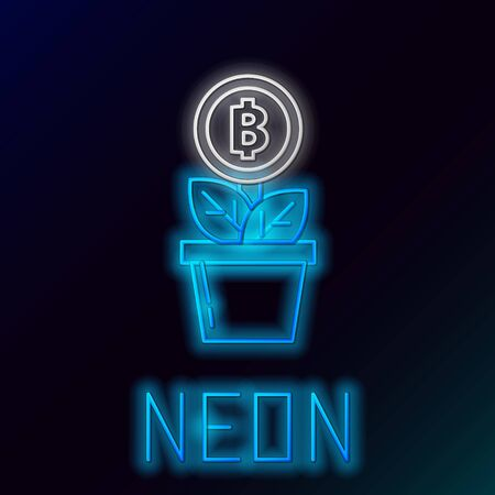 Blue glowing neon line Bitcoin plant in the pot icon on black background. Business investment growth. Blockchain technology, cryptocurrency mining. Colorful outline concept. Vector Illustration