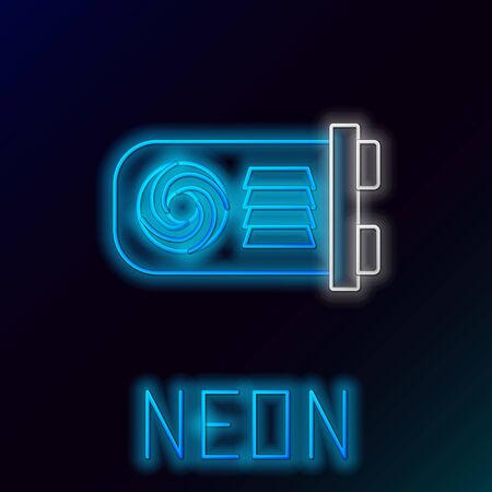 Blue glowing neon line Mining farm icon on black background. Cryptocurrency mining, blockchain technology, bitcoin, digital money market, wallet. Colorful outline concept. Vector Illustration