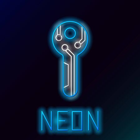 Blue glowing neon line Cryptocurrency key icon on black background. Concept of cyber security or private key, digital key with technology interface. Colorful outline concept. Vector Illustration
