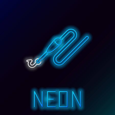 Blue glowing neon line Fishing line with hook and float icon isolated on black background. Fishing tackle. Colorful outline concept. Vector Illustration
