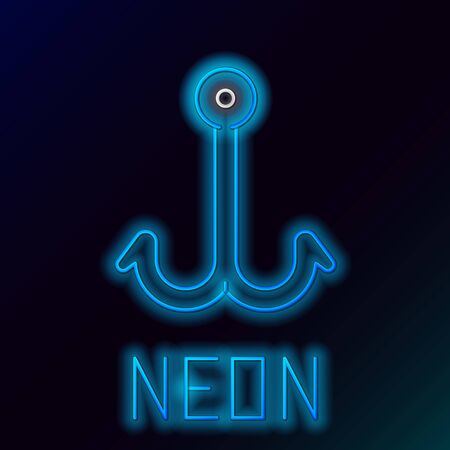 Blue glowing neon line Fishing hook icon isolated on black background. Fishing tackle. Colorful outline concept. Vector Illustration
