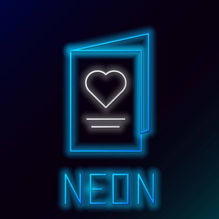 Blue glowing neon line Valentines day party flyer with heart icon on black background. Celebration poster template for invitation or greeting card. Colorful outline concept. Vector Illustration Stock Illustratie