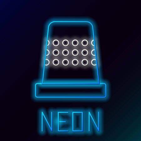 Blue glowing neon line Thimble for sewing icon isolated on black background. Colorful outline concept. Vector Illustration Illustration