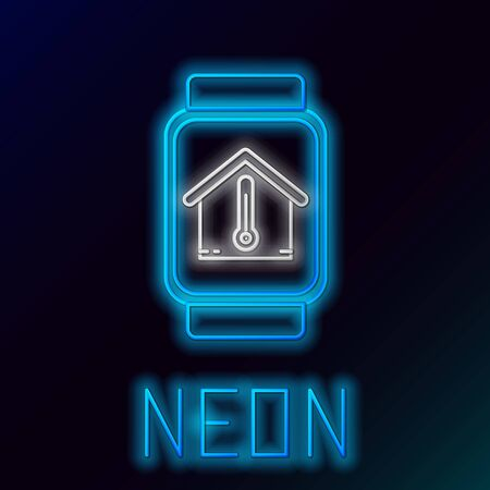 Blue glowing neon line Smart watch with house temperature icon isolated on black background. Thermometer icon. Colorful outline concept. Vector Illustration