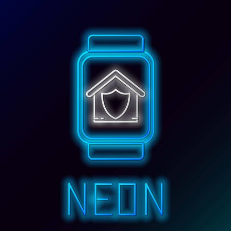 Blue glowing neon line Smart watch with house under protection icon isolated on black background. Protection, safety, security, protect, defense concept. Colorful outline concept. Vector Illustration Illustration