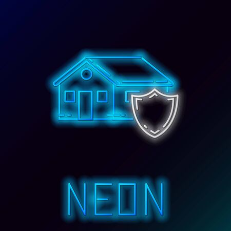 Blue glowing neon line House under protection icon isolated on black background. Protection, safety, security, protect, defense concept. Colorful outline concept. Vector Illustration Illustration