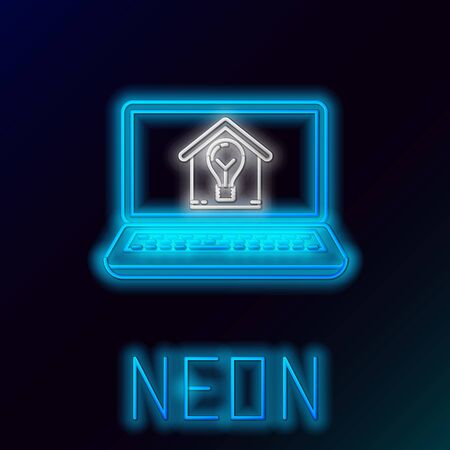 Blue glowing neon line Laptop with smart house and light bulb icon isolated on black background. Colorful outline concept. Vector Illustration