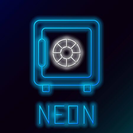 Blue glowing neon line Safe icon on black background. The door safe a bank vault with a combination lock. Reliable Data Protection. Colorful outline concept. Vector Illustration