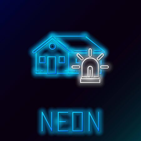 Blue glowing neon line Smart house and alarm icon isolated on black background. Security system of smart home. Colorful outline concept. Vector Illustration 일러스트