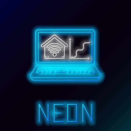 Blue glowing neon line Laptop with smart home with wifi icon isolated on black background. Remote control. Colorful outline concept. Vector Illustration 일러스트