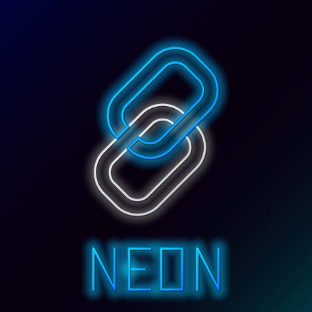 Blue glowing neon line Chain link icon on black background. Link single. Hyperlink chain symbol. Colorful outline concept. Vector Illustration