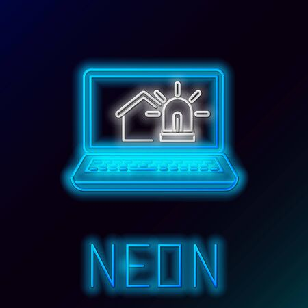 Blue glowing neon line Laptop with smart house and alarm icon isolated on black background. Security system of smart home. Colorful outline concept. Vector Illustration 일러스트