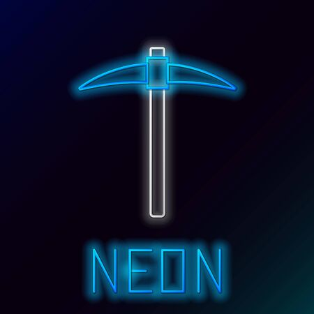 Blue glowing neon line Pickaxe icon on black background. Blockchain technology, cryptocurrency mining, bitcoin, digital money market, cryptocoin wallet. Colorful outline concept. Vector Illustration