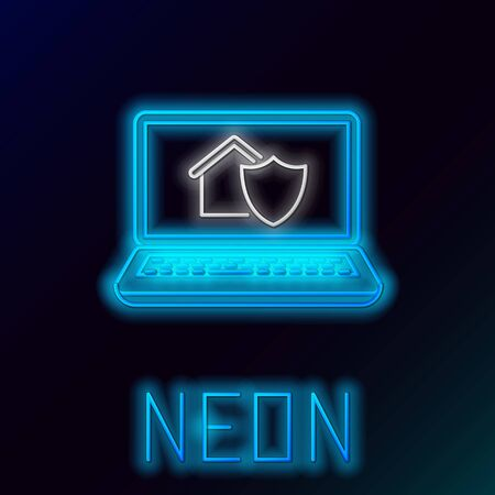 Blue glowing neon line Laptop with house under protection icon isolated on black background. Protection, safety, security, protect, defense concept. Colorful outline concept. Vector Illustration