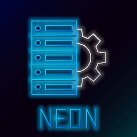 Blue glowing neon line Server and gear icon on black background. Adjusting app, service concept, setting options, maintenance, repair, fixing. Colorful outline concept. Vector Illustration