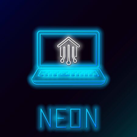Blue glowing neon line Laptop with smart home icon isolated on black background. Remote control. Colorful outline concept. Vector Illustration 일러스트