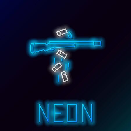 Blue glowing neon line Gun shooting icon isolated on black background. Colorful outline concept. Vector Illustration Archivio Fotografico - 133436181