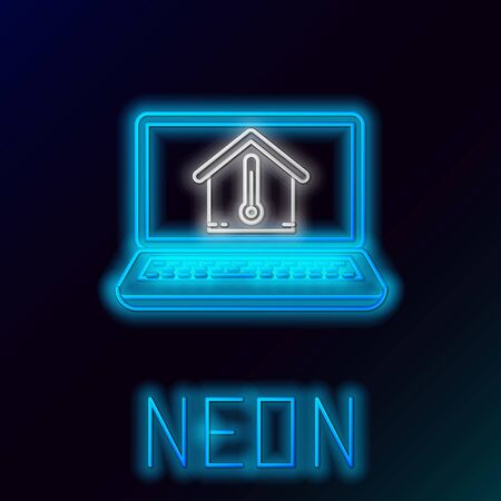 Blue glowing neon line Laptop with house temperature icon isolated on black background. Thermometer icon. Colorful outline concept. Vector Illustration Stock Illustratie
