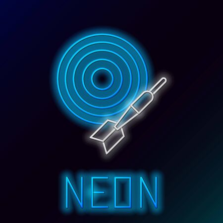 Blue glowing neon line Classic dart board and arrow icon isolated on black background. Dartboard sign. Game concept. Colorful outline concept. Vector Illustration