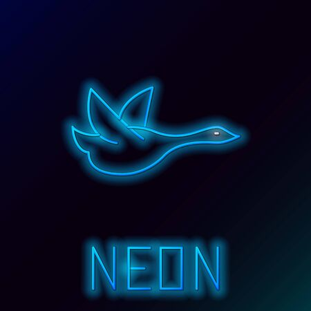 Blue glowing neon line Flying duck icon isolated on black background. Colorful outline concept. Vector Illustration Ilustração